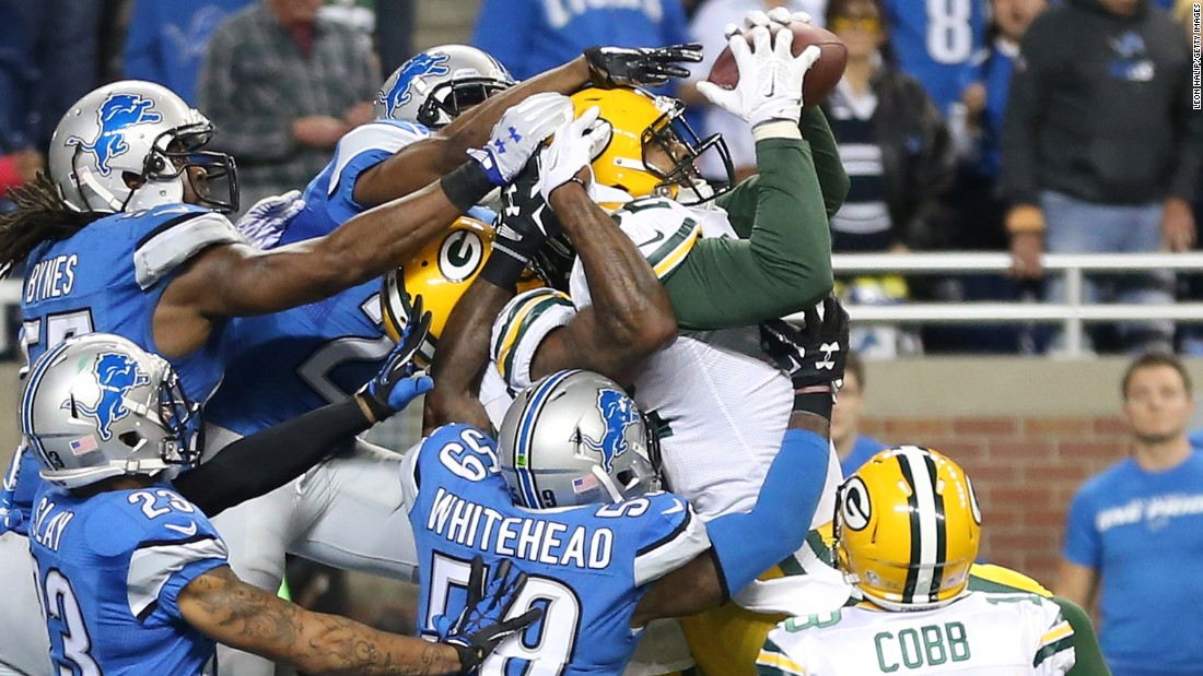 "Richard Rodgers hauls in a 61-yard ""Hail Mary"" touchdown to give the Green Bay Packers a last-second victory at Detroit on Thursday, December 3."