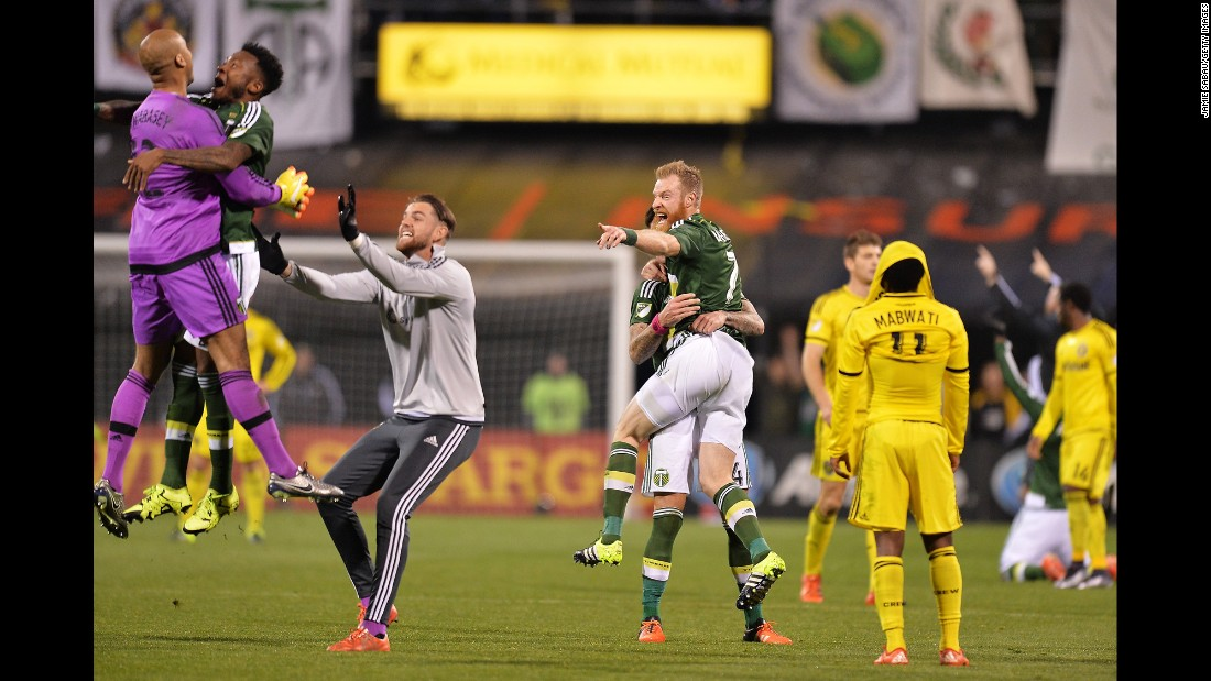 The Portland Timbers celebrate after they defeated Columbus 2-1 in the MLS Cup final on Sunday, December 6. It is Portland's first MLS title.