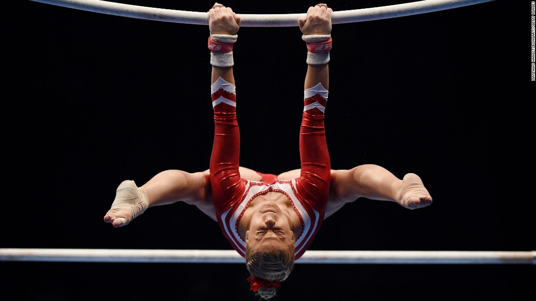 Elisabeth Seitz competes on the uneven bars during the DTL Finals in Karlsruhe, Germany, on Saturday, December 5.