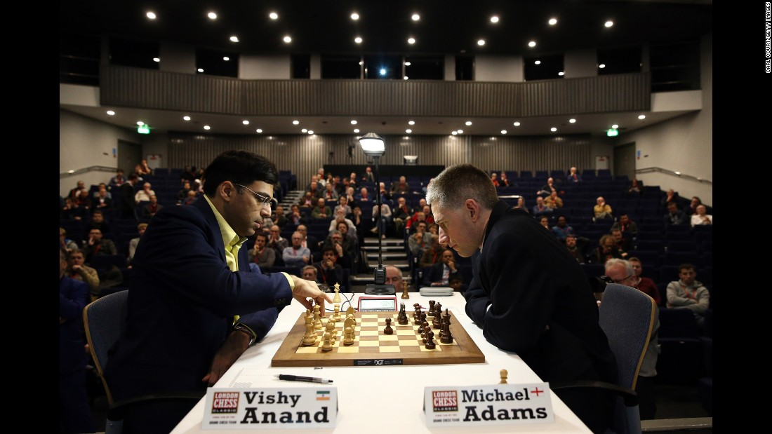 Vishy Anand plays Michael Adams at the London Chess Classic on Friday, December 4. Ten players are taking part in the tournament, which ends December 13 in London.