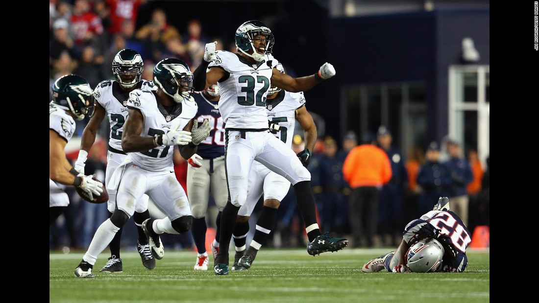 Philadelphia Eagles cornerback Eric Rowe celebrates after New England had an incomplete pass late in the game Sunday, December 6, in Foxborough, Massachusetts. The Eagles upset the defending Super Bowl champions 35-28.