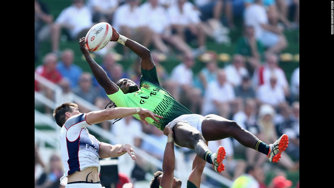 South Africa's Seabelo Senatla reaches for the ball during a rugby sevens match against the United States on Saturday, December 5. It was the quarterfinals of the Dubai Sevens in Dubai, United Arab Emirates. The United States won 21-19.