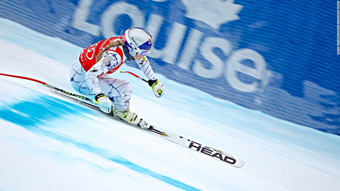 American skier Lindsey Vonn races downhill as she trains for the World Cup event in Lake Louise, Alberta, on Thursday, December 3. Vonn won three events there over the weekend.