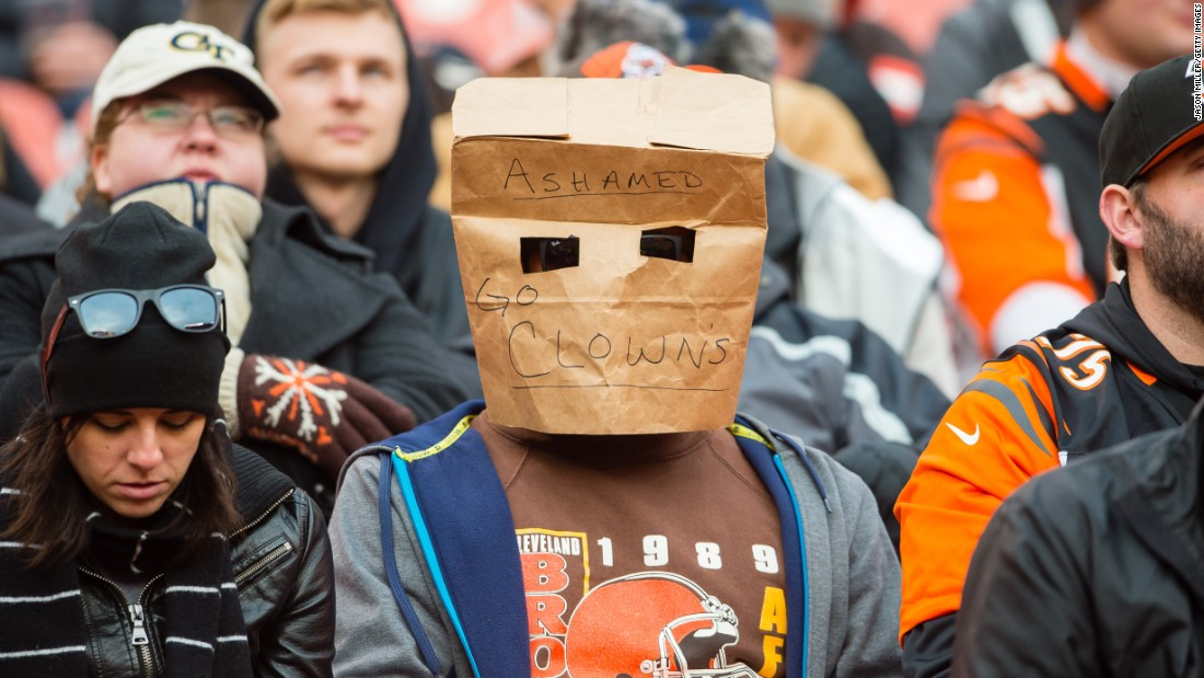 A Cleveland Browns fan shows his disappointment during an NFL game against Cincinnati on Sunday, December 6. The Browns (2-10) lost to their in-state rival 37-3.