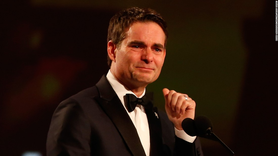Retired NASCAR driver Jeff Gordon gets emotional as he accepts the Bill France Award of Excellence during the annual NASCAR awards show on Friday, December 4. Gordon won four Sprint Cup championships during his career.