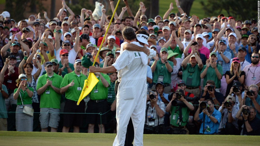 A year later, unencumbered by the duties and attention of being the defending champion, Watson won the Masters again and broke down in tears on the shoulder of caddie Ted Scott on the 18th green.
