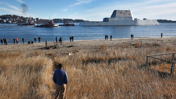 "The USS Zumwalt leaves the Kennebec River in Phippsburg, Maine, on December 7. The ship and its class are named in honor of Adm. Elmo R. ""Bud"" Zumwalt Jr., who served as chief of naval operations from 1970 to 1974."