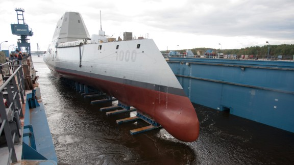 The ship is floated out of dry dock at the Bath Iron Works shipyard on October 28, 2013.