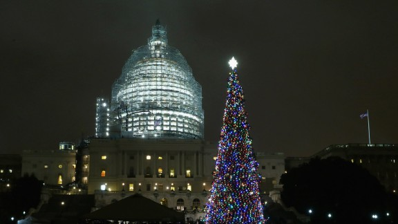 The Capitol Christmas tree is shown lighted during a ceremony on the west front of the U.S. Capitol December 2, 2015 in Washington, DC.