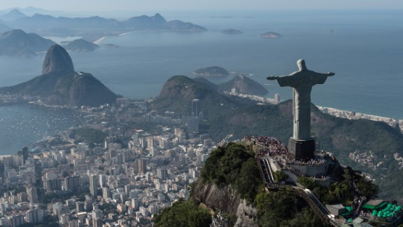 Aerial view of Christ the Redeemer statue, in Rio de Janeiro, Brazil, taken on June 26, 2014.  AFP PHOTO / YASUYOSHI CHIBA        (Photo credit should read YASUYOSHI CHIBA/AFP/Getty Images)
