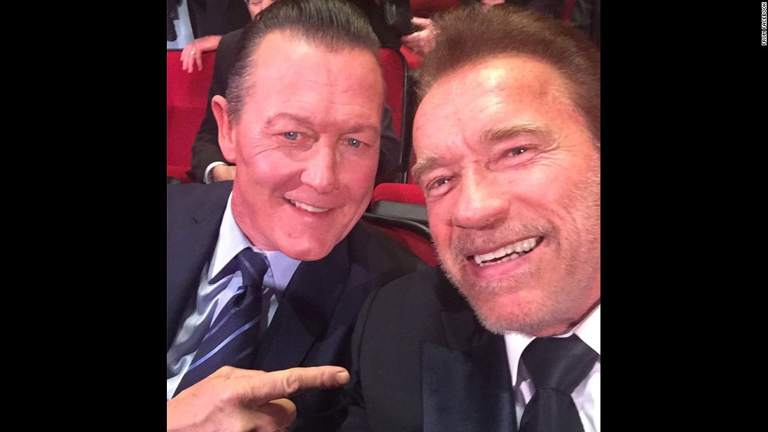 "Two former ""Terminators"" pose for a selfie on Thursday, December 3. ""The Reunion of the Machines!"" actor Arnold Schwarzenegger, right, <a href=""https://www.facebook.com/arnold/photos/pb.9269711759.-2207520000.1449607397./10153617013646760/?type=3&theater"" target=""_blank"">said on Facebook.</a> ""Fantastic to see my T-1000 friend Robert Patrick and catch up and reminisce about old times."""