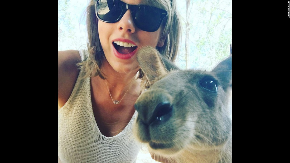 """I didn't know 'kangaroo selfies' were a thing,"" <a href=""https://www.instagram.com/p/-8DBz2jvLe/?taken-by=taylorswift"" target=""_blank"">singer Taylor Swift said</a> on Sunday, December 6. ""But they are and this is one."" In two days, this photo got more than 2 million likes on Instagram."