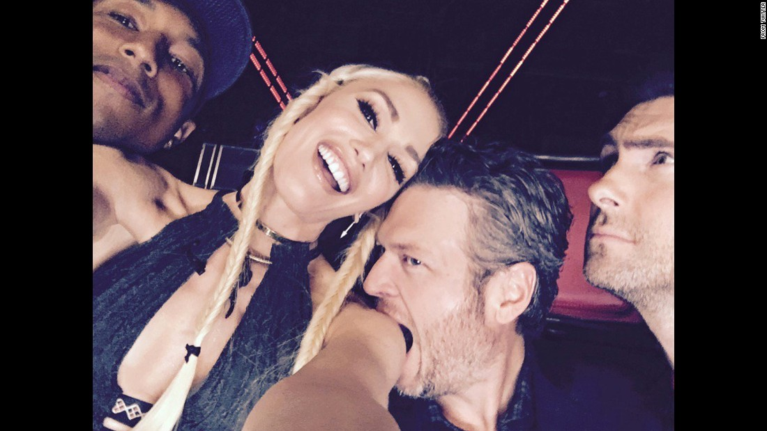 "Singer Blake Shelton takes a bite out of Gwen Stefani, his girlfriend and fellow judge of ""The Voice,"" in this selfie <a href=""https://twitter.com/gwenstefani/status/674041729864114176"" target=""_blank"">she tweeted</a> on Monday, December 7. Joining them in the shot were fellow ""Voice"" judges Pharrell Williams, left, and Adam Levine."