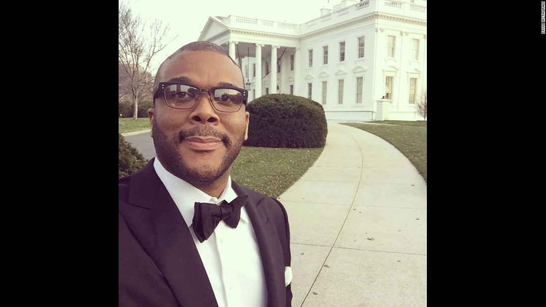 "Film director Tyler Perry snaps a selfie outside the White House <a href=""https://www.instagram.com/p/-_rzQ7uwIj/?taken-by=tylerperry"" target=""_blank"">in this Instagram post</a> from Monday, December 7. ""What an amazing night last night!!!"" Perry said. ""I was at the White House for the Kennedy Center Honors!! Congrats to all the honorees and my darling Cicely Tyson!!"""