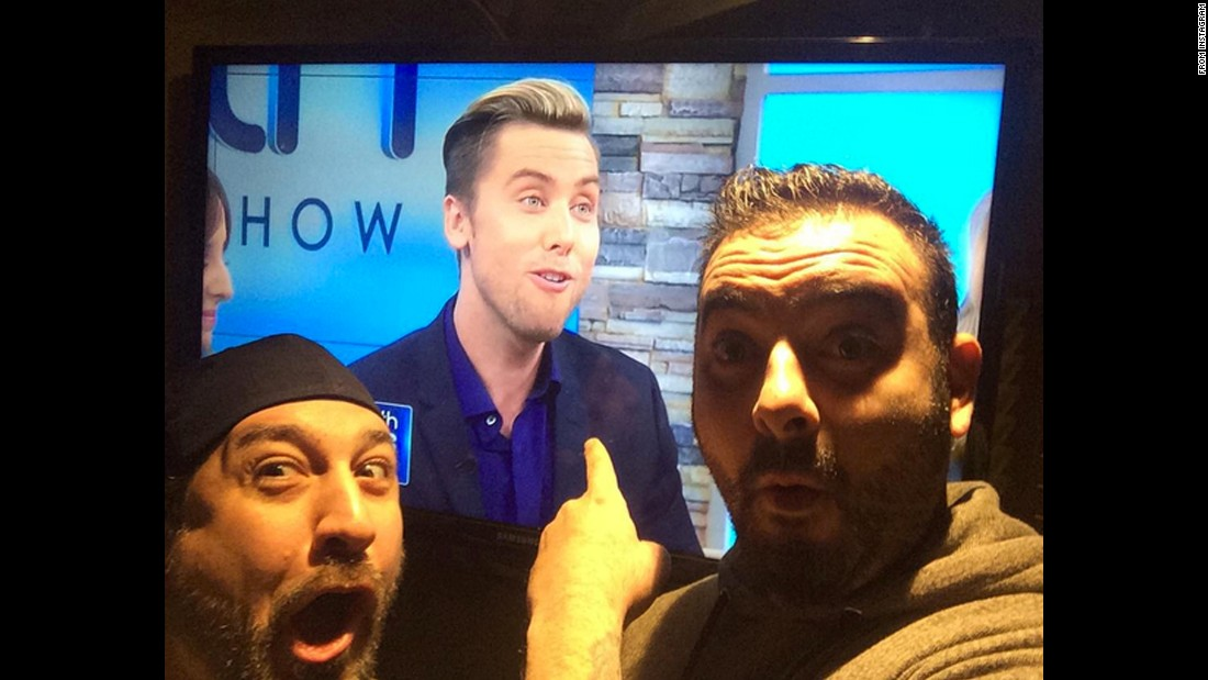 "Joey Fatone, left, and Chris Kirkpatrick watch fellow NSYNC alumnus Lance Bass on Friday, December 4. ""Look who we are watching this morning!""<a href=""https://www.instagram.com/p/-4ZWDCoxbjyPMoCXJn_p1poyca63BoBL1kfPc0/?taken-by=realjoeyfatone"" target=""_blank""> Fatone said on Instagram.</a>"