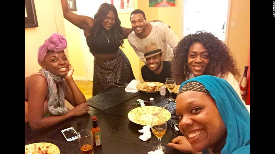"Actress Danielle Brooks, bottom right, takes a selfie with other members of the Broadway show ""The Color Purple"" on Friday, December 4. ""Grubbing it up getting ready to watch #thewiz,"" <a href=""https://www.instagram.com/p/-4Vt-0pqL_/?taken-by=daniebb3"" target=""_blank"">Brooks said on Instagram.</a> ""We stayed up till 3am."""