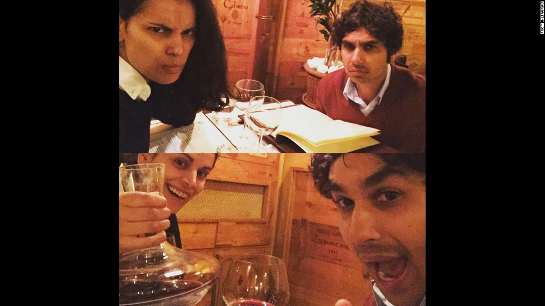 "Actor Kunal Nayyar enjoys a drink with his wife, Neha, on Friday, December 4. The top photo is ""before wine,"" <a href=""https://www.instagram.com/p/-4IJAuDcUs/?taken-by=kunalkarmanayyar"" target=""_blank"">he said on Instagram,</a> and the bottom is ""after wine."""