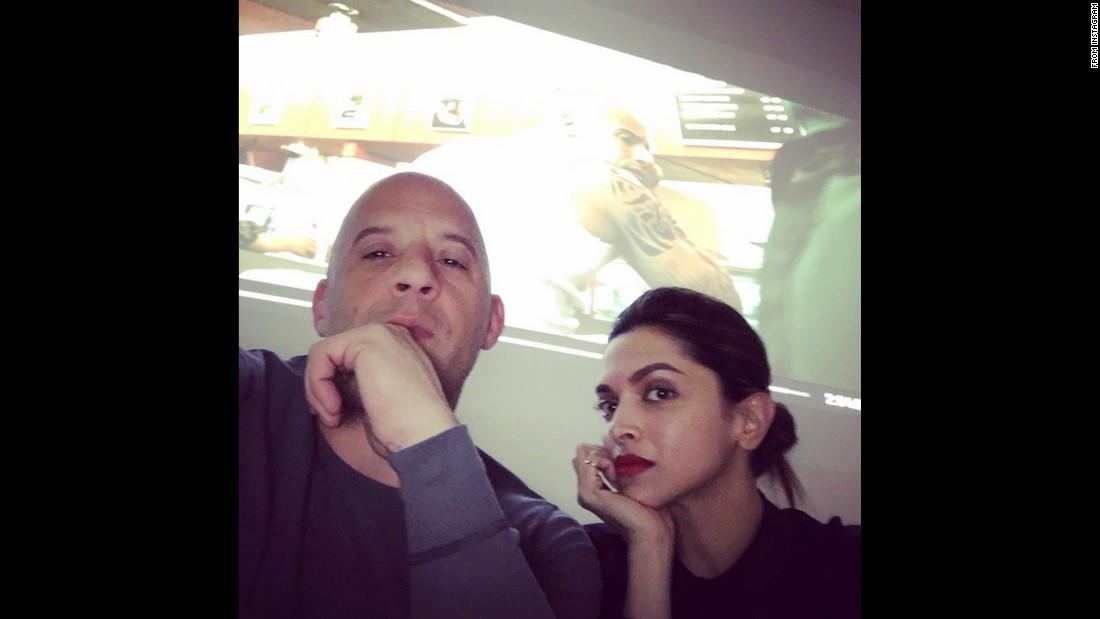 "Actor Vin Diesel <a href=""https://www.instagram.com/p/-8Bt_amPiZ/?taken-by=vindiesel"" target=""_blank"">takes a selfie</a> with actress Deepika Padukone on Sunday, December 6. The Instagram post was uncaptioned."