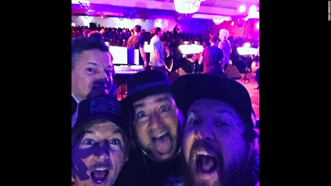 "Actor Nick Swardson, right, takes a selfie Friday, December 4, during a party for film company Happy Madison. Joining him in the picture, from left, are Netflix executive Ted Sarandos, comedian David Spade and film director Frank Coraci. ""REO Speedwagon behind us,"" <a href=""https://www.instagram.com/p/-3Y6BLStbD/?taken-by=realnickswardson"" target=""_blank"">Swardson said on Instagram.</a>"