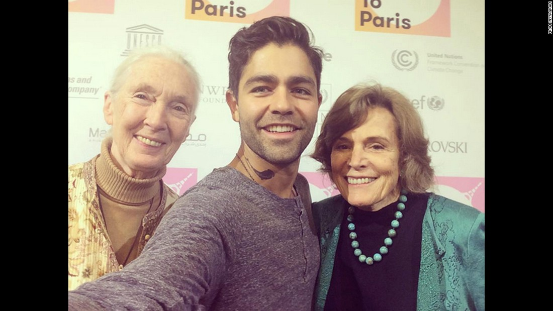 "Actor Adrian Grenier takes a selfie with conservationists Jane Goodall, left, and Sylvia Earle on Monday, December 7. ""With two of my heroes,"" <a href=""https://www.instagram.com/p/-_WaE3kHzC/?taken-by=adriangrenier"" target=""_blank"">Grenier said on Instagram.</a> ""Listen to what they have to say, follow them to the beginning of the earth."""