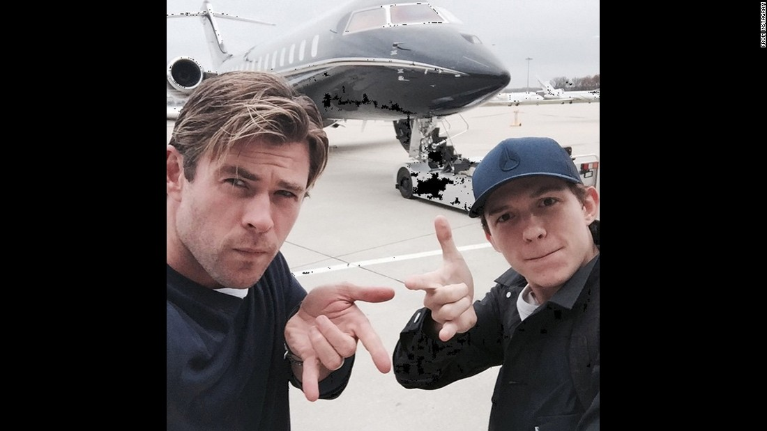 "Chris Hemsworth, left, takes a selfie with fellow actor Tom Holland before traveling to the premiere of ""In the Heart of the Sea"" on Thursday, December 3. ""Heading to Madrid with my mate Peter Parker,"" <a href=""https://www.instagram.com/p/-1QeeLyJcf/?taken-by=chrishemsworth"" target=""_blank"">joked Hemsworth,</a> referring to Holland's upcoming role as Spider-Man."