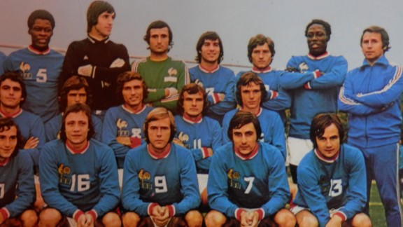 """Adams (back row, second from right) played in a France side that was """"in construction,"""" according to team-mate Henri Michel. The only major competition """"Les Bleus"""" contested in the 1970s was the World Cup in 1978, though by then Adams' France career was over. He made his debut in 1972 and finished in 1976."""