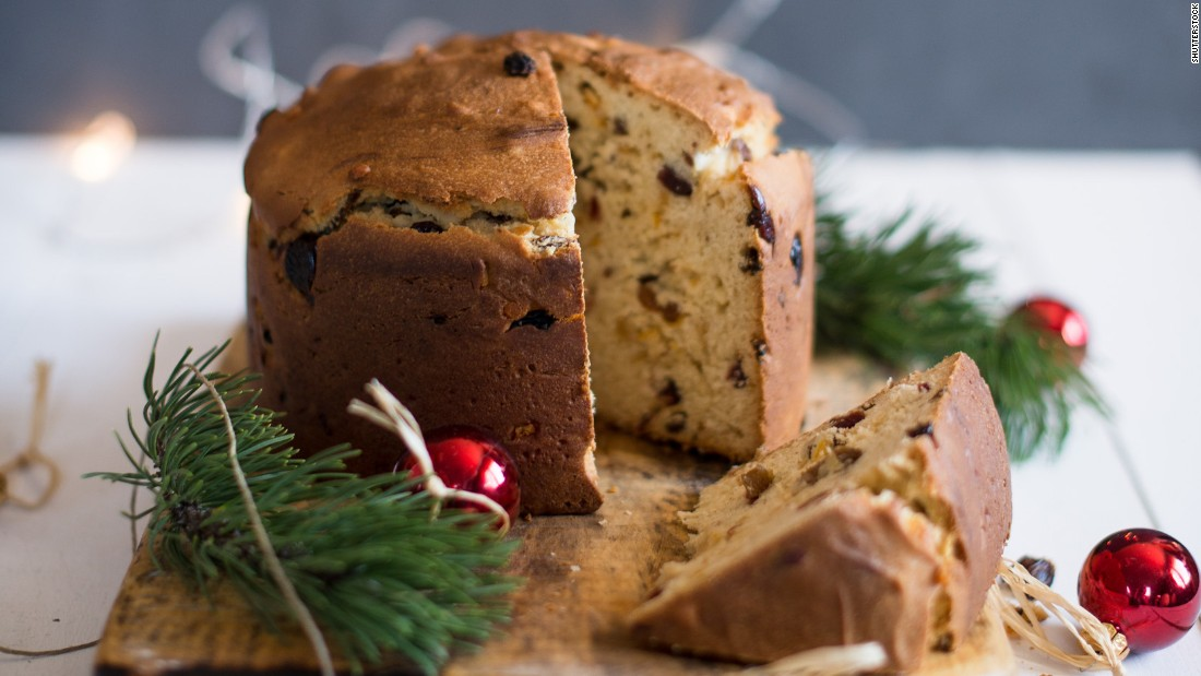 Panettone is the dome-shaped Christmas bread that originated in Italy but is a favorite throughout Europe. Studded with raisins and candied citrus, the sweet dough tends to be a little dry, so some folks soak theirs in wine or rum.