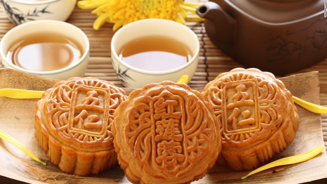 Chinese mooncakes are made to be enjoyed in conjunction with the Mid-Autumn Festival, a lunar celebration. They are typically round with script and designs on top. The pastries can be filled with fruit or bean paste, chocolate and even savory ingredients such as an egg to symbolize the moon.