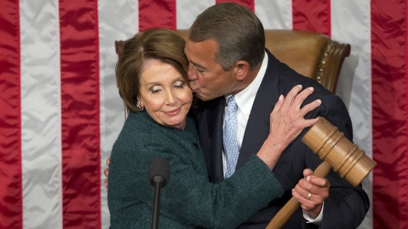 John Boehner kisses House Minority Leader Nancy Pelosi after he was elected to a third term as House Speaker on Tuesday, January 6. He retired at the end of October.