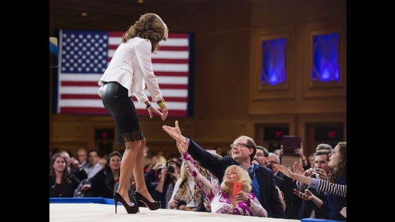 Former Alaska Gov. Sarah Palin greets supporters Thursday, February 26, at the annual Conservative Political Action Conference.