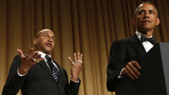"""President Obama speaks next to comedian Keegan-Michael Key -- playing Luther, """"Obama"""
