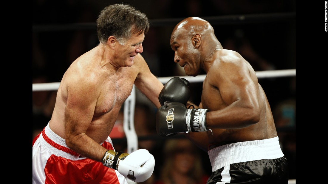 "Former presidential candidate Mitt Romney, left, <a href=""http://www.cnn.com/2015/05/16/politics/mitt-romney-boxing-evander-holyfield-rumble/"" target=""_blank"">boxes former heavyweight champion Evander Holyfield</a> during a charity event Friday, May 15, in Salt Lake City. The bout raised money for CharityVision, an organization that provides surgeries to heal blindness."