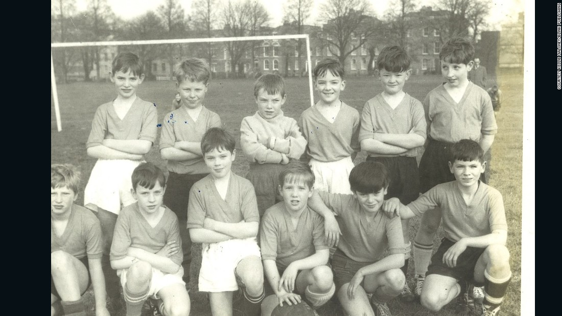 Maloney (standing third from left) as an 11-year-old goalkeeper for St. James Football Club.