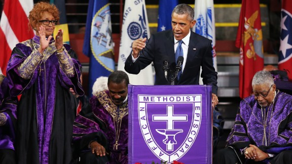 """President Obama delivers the eulogy for South Carolina state Sen. Clementa Pinckney on Friday, June 26. Pinckney was a pastor at the Charleston, South Carolina, church where he and eight other people were fatally shot on June 17. Pinckney was 41 years old. """"We are here today to remember a man of God who lived by faith,"""" Obama said. """"A man who believed in things not seen. A man who believed there were better days ahead, off in the distance. A man of service who persevered knowing full well he would not receive all those things he was promised, because he believed his efforts would provide a better life for those who followed."""""""