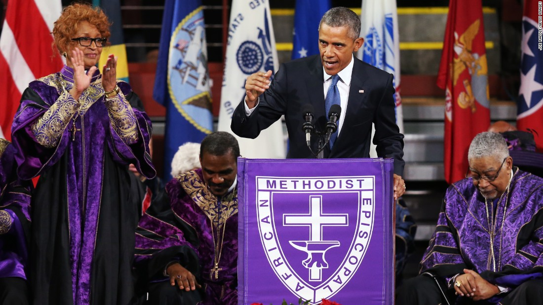 "President Obama delivers the eulogy for <a href=""http://www.cnn.com/2015/06/26/politics/gallery/pinckney-funeral-charleston/index.html"" target=""_blank"">South Carolina state Sen. Clementa Pinckney</a> on Friday, June 26. Pinckney was a pastor at the Charleston, South Carolina, church where he and eight other people <a href=""http://www.cnn.com/2015/06/18/us/gallery/charleston-south-carolina-church-shooting/index.html"" target=""_blank"">were fatally shot</a> on June 17. Pinckney was 41 years old. ""We are here today to remember a man of God who lived by faith,"" Obama said. ""A man who believed in things not seen. A man who believed there were better days ahead, off in the distance. A man of service who persevered knowing full well he would not receive all those things he was promised, because he believed his efforts would provide a better life for those who followed."""