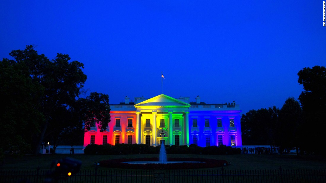 "The White House is lit up in rainbow colors on Friday, June 26, to commemorate the Supreme Court's ruling <a href=""http://www.cnn.com/2015/06/26/politics/gallery/supreme-court-same-sex-marriage-ruling-photos/index.html"" target=""_blank"">to legalize same-sex marriage.</a>"