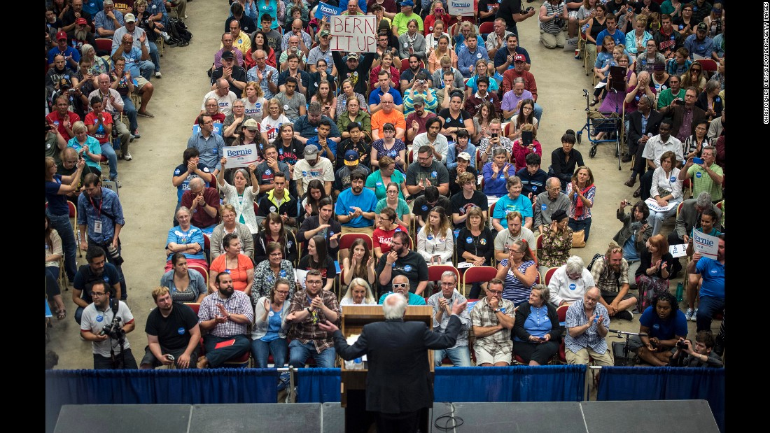 "U.S. Sen. Bernie Sanders, an independent from Vermont who is seeking the Democratic nomination for President, <a href=""http://www.cnn.com/2015/07/01/politics/bernie-sanders-crowds-wisconsin-2016/index.html"" target=""_blank"">speaks to nearly 10,000 supporters</a> in Madison, Wisconsin, on Wednesday, July 1."