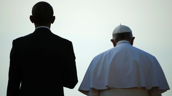 President Obama stands with Pope Francis during a ceremony at the White House on Wednesday, September 23. The Pope was making his first visit to the United States, spending time in Washington, New York and Philadelphia.