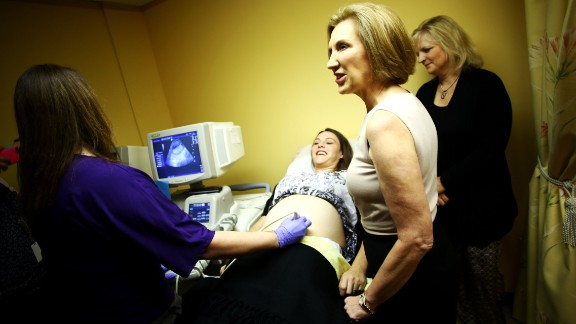Republican presidential candidate Carly Fiorina, second from right, visits a pregnancy center during a campaign stop in Spartanburg, South Carolina, on Thursday, September 24.