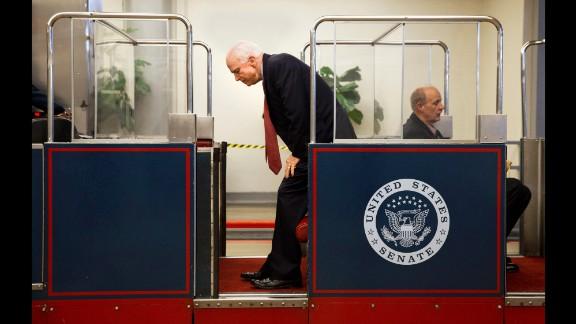 U.S. Sen. John McCain gets on the U.S. Capitol
