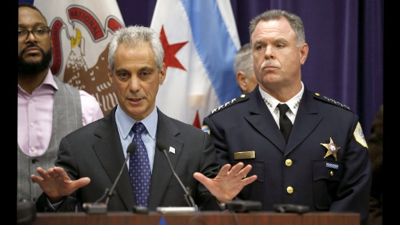 """Chicago Mayor Rahm Emanuel calls for peace Tuesday, November 24, after police released a graphic dashcam video showing an officer shooting 17-year-old Laquan McDonald in October 2014. McDonald was a black teenager. The officer who shot him, Jason Van Dyke, is white. """"I believe this is a moment that can build bridges of understanding rather than become a barrier of misunderstanding,"""" Emanuel said. """"I understand that the people will be upset and will want to protest when they see this video. We as a city must rise to this moment."""""""