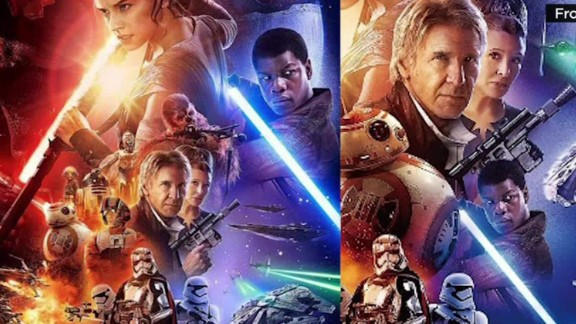"Compare the Chinese version of the poster for the new ""Star Wars"" movie to on the left to the U.S. version on the right."