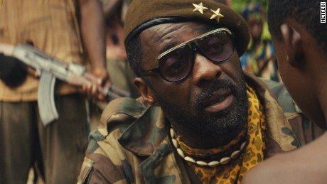 "Idris Elba in ""Beasts of No Nation"", directed by Cary Fukunaga and shot in Ghana. Netflix bought its worldwide distribution rights for $12 million."