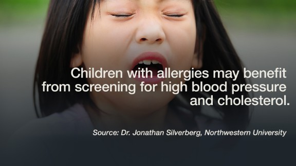 "Children with common allergies such as asthma and hay fever have a higher rate of high blood pressure and cholesterol than their peers with no allergies, according to a new study. This puts them at a much greater risk for a heart attack or stroke later in life. Given the high numbers of kids with allergies, ""future studies are needed to determine the mechanisms of association between pediatric allergic and cardiovascular disease,"" said Dr. Johnathan Silverberg, lead author of the Northwestern University study. The survey  included 13,275 children from infants to 17 year olds. -- Lauren Sennet  Click through the gallery to see additional recent studies."