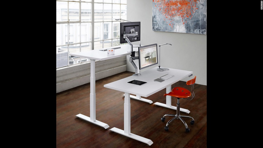 The Fundamentals EX Electric by Workrite is one of several standing desk options that looks like an ordinary desk until you push a button and up or down it goes.