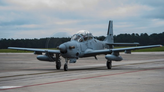 An A-29 Super Tucano taxis on the flightline during its first arrival, Sept. 26, 2014, at Moody Air Force Base, Georgia. Afghan Air Force pilots trained on the planes that will be used in air-to-ground attack missions in Afghanistan.