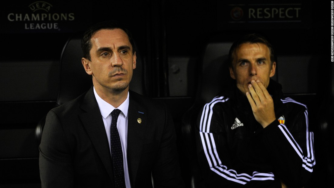Gary Neville's first game in charge of Valencia ended in defeat after Lyon claimed a 2-0 win at Mestalla.