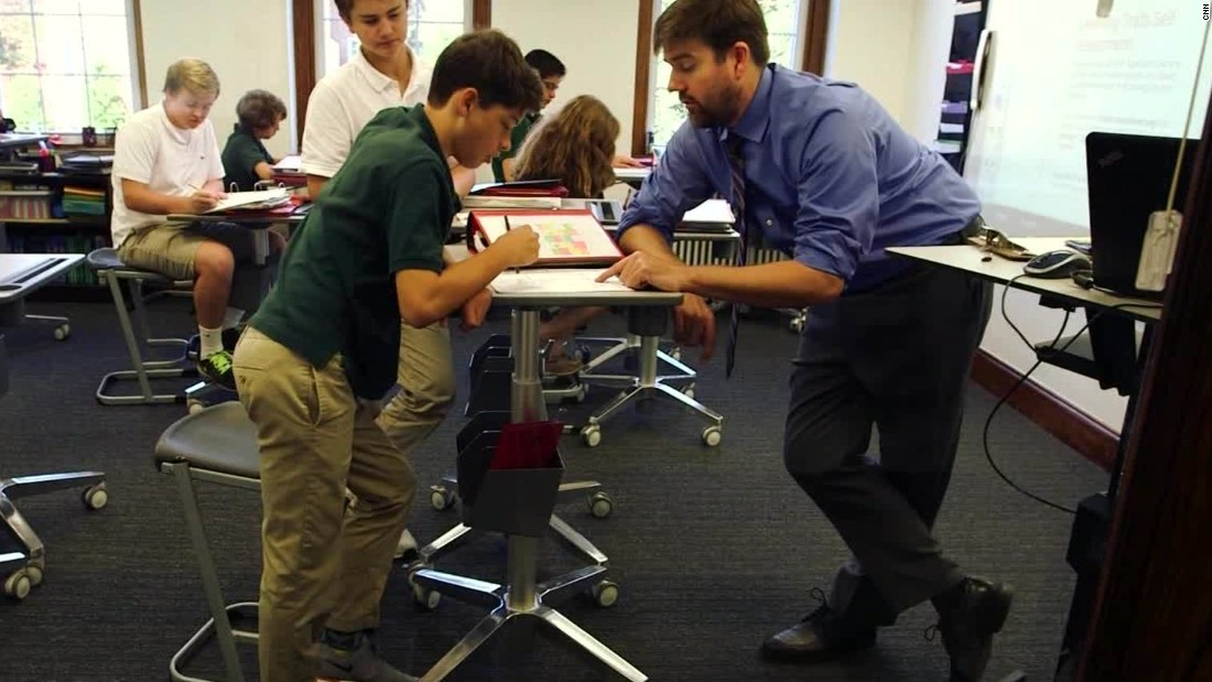 School Adds Standing Desks To Classrooms   CNN Video
