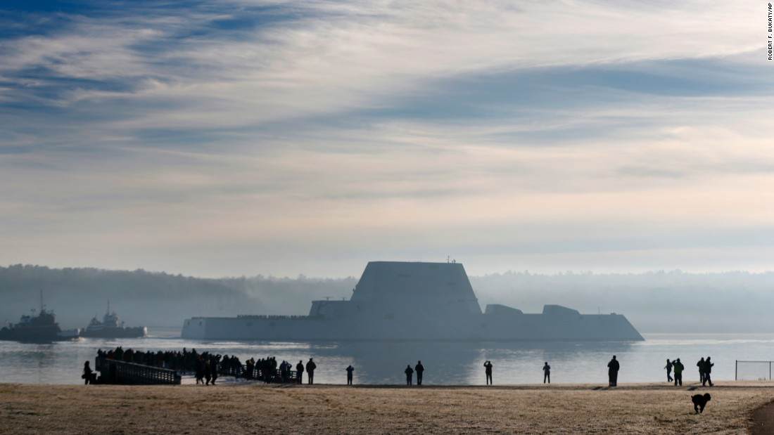 "The USS Zumwalt, <a href=""http://www.cnn.com/2015/12/08/politics/gallery/uss-zumwalt/"" target=""_blank"">the biggest and most expensive destroyer the Navy has ever built,</a> heads down the Kennebec River after leaving Bath, Maine, on Monday, December 7. The ship is undergoing sea trials."
