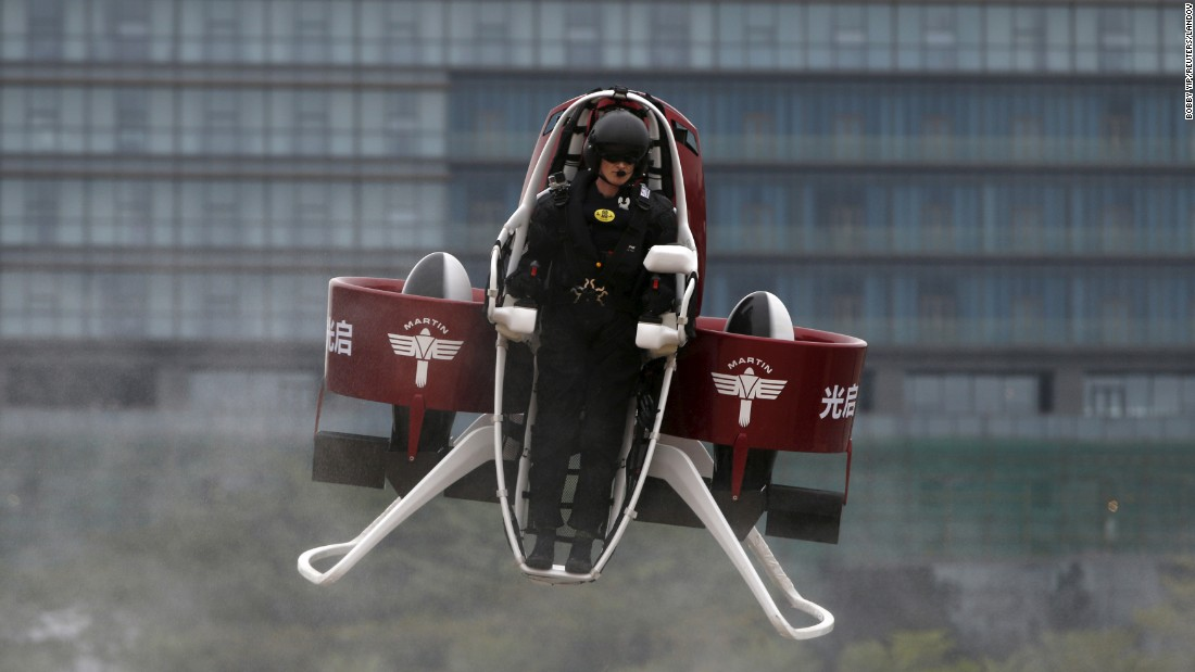 Michael Read, director of flight operations for the New Zealand-based Martin Aircraft Co., flies a Martin jet pack during a demonstration in Shenzhen, China, on Sunday, December 6.